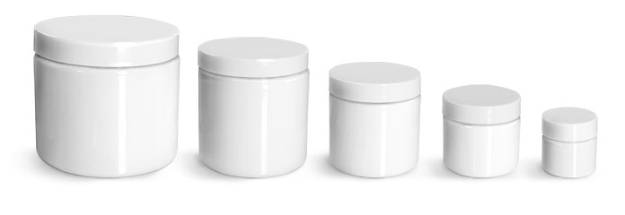 PET Plastic Jars, White Straight Sided Jars w/ White Smooth Unlined Caps