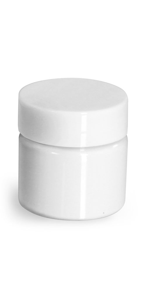 1/2 oz Plastic Jars, White PET Straight Sided Jars w/ White Smooth Unlined Caps