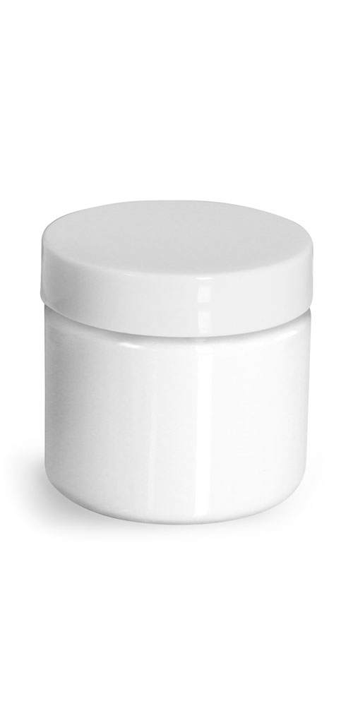 2 oz Plastic Jars, White PET Straight Sided Jars w/ White Smooth Unlined Caps