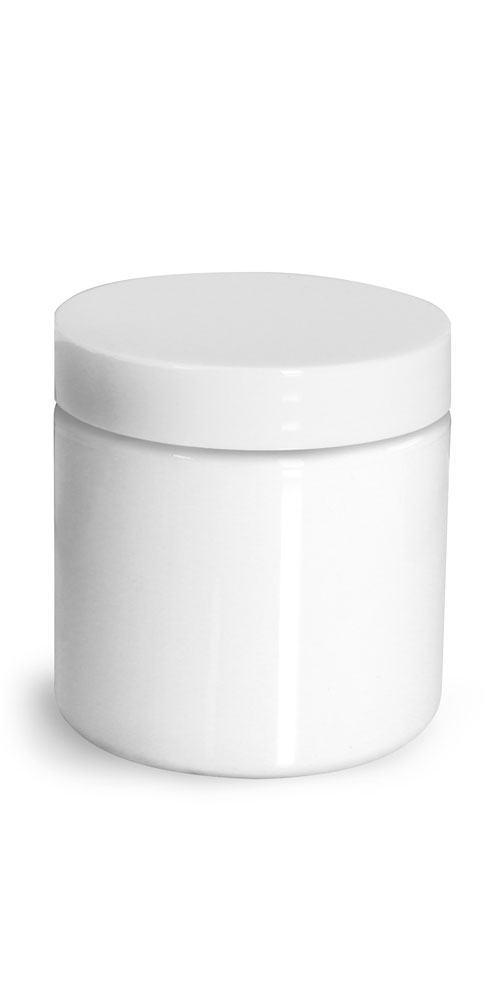 4 oz Plastic Jars, White PET Straight Sided Jars w/ White Smooth Unlined Caps