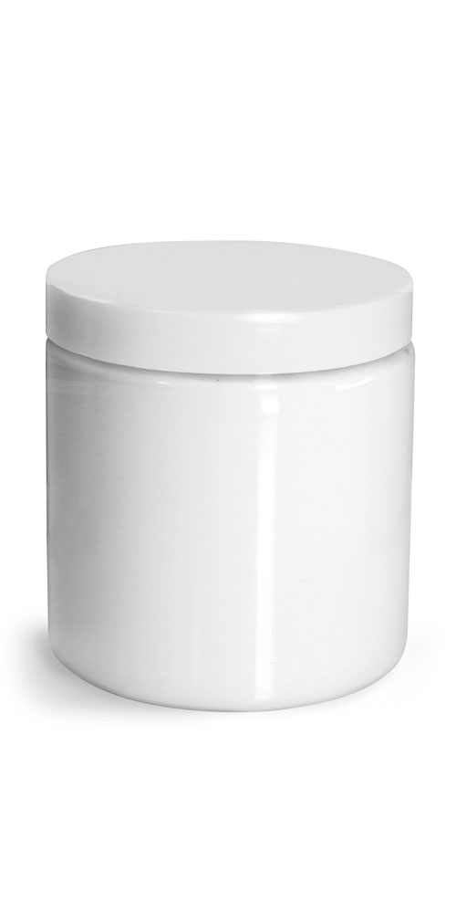 Plastic Jars, White PET Straight Sided Jars w/ White Smooth Unlined Caps