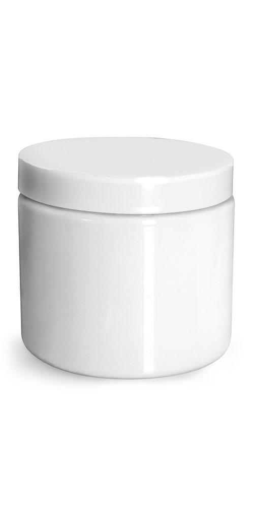 16 oz Plastic Jars, White PET Straight Sided Jars w/ White Smooth Unlined Caps
