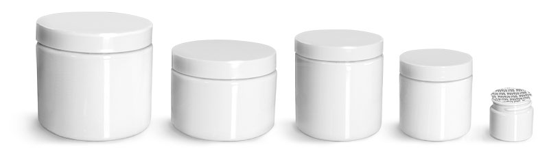 PET Plastic Jars, White Straight Sided Jars w/ White Smooth PS22 Lined Caps