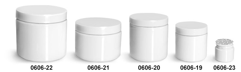 Plastic Jars, White PET Straight Sided Jars w/ White Smooth PS22 Lined Caps