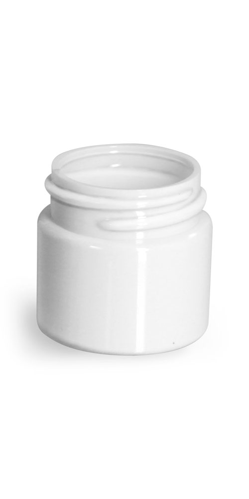 1/2 oz Plastic Jars, White PET Straight Sided Jars (Bulk) Caps Not Included
