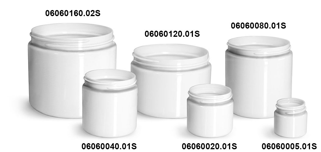 Plastic Jars, White PET Straight Sided Jars (Bulk) Caps Not Included