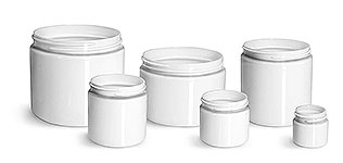 16 oz Plastic Jars, White PET Straight Sided Jars (Bulk) Caps Not Included