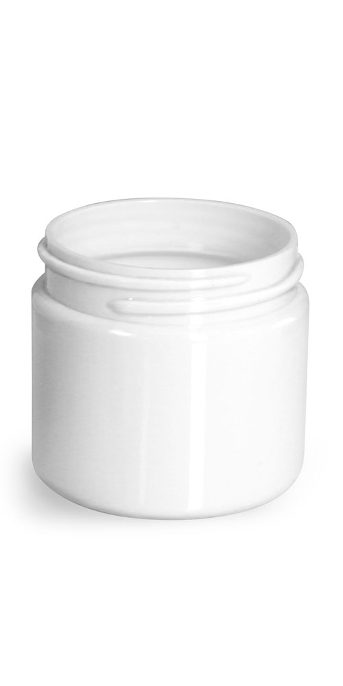 2 oz Plastic Jars, White PET Straight Sided Jars (Bulk) Caps Not Included