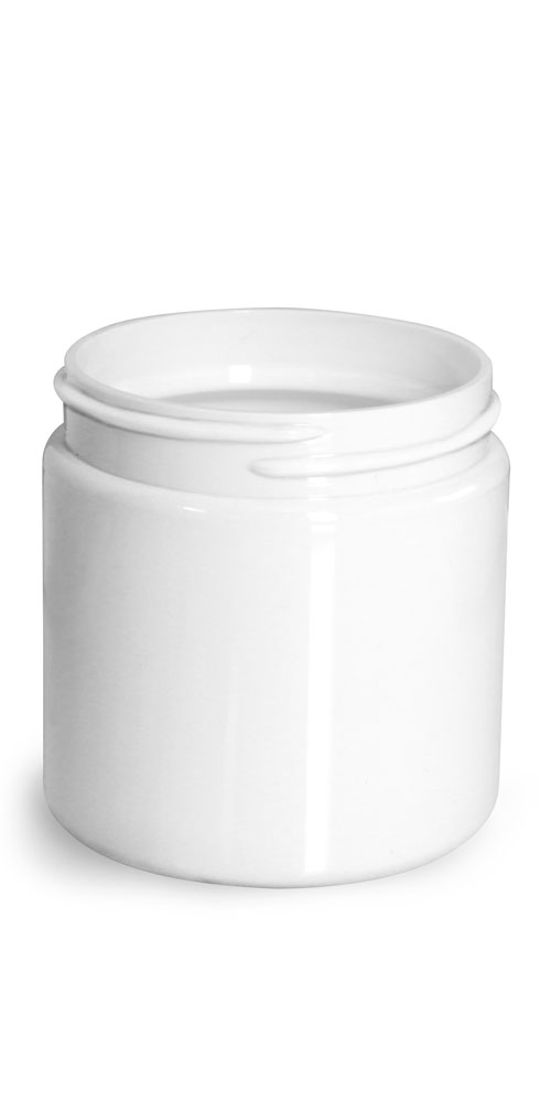 4 oz Plastic Jars, White PET Straight Sided Jars (Bulk) Caps Not Included