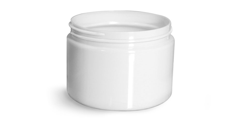 12 oz Plastic Jars, White PET Straight Sided Jars (Bulk) Caps Not Included