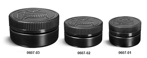 Plastic Jars, Black HDPE Low Profile Jars w/ Black F217 Lined Child Resistant Caps