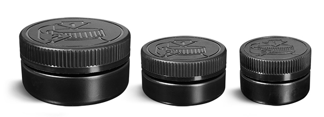 HDPE Plastic Jars, Black Low Profile Jars w/ Black F217 Lined Child Resistant Caps
