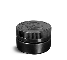 Plastic Jars, Black HDPE Low Profile Jars w/ Black F217 Lined Child Resistant Caps