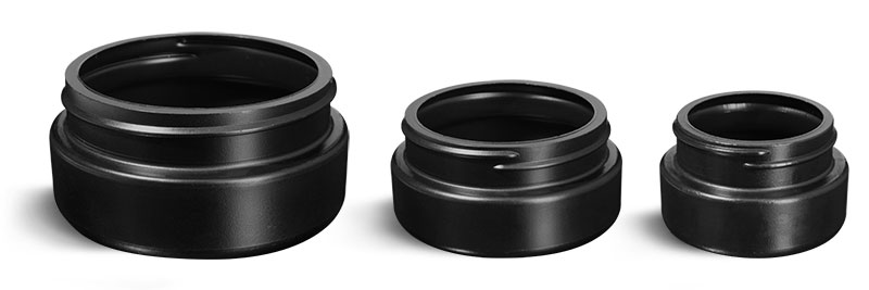 Plastic Jars, Black HDPE Wide Mouth Low Profile Jars
