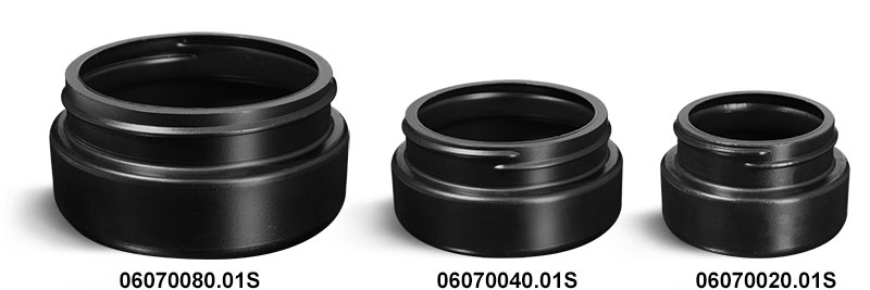Plastic Jars, Black HDPE Wide Mouth Low Profile Jars (Bulk) Caps NOT Included
