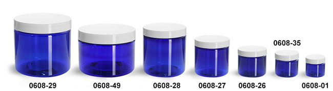 Plastic Jars, Blue PET Straight Sided Jars w/ White Smooth Plastic Lined Caps