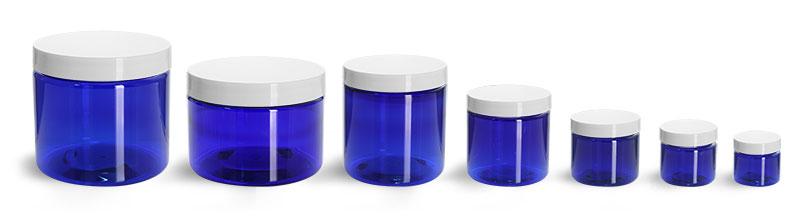 PET Plastic Jars, Blue Straight Sided Jars w/ White Smooth Plastic Lined Caps