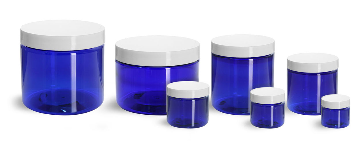 PET Plastic Jars, Blue Straight Sided Jars w/ White Smooth Plastic Lined Caps