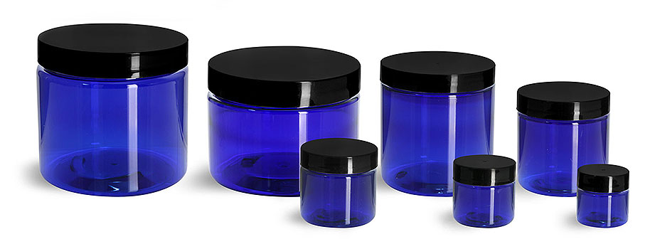 Plastic Jars, Blue PET Straight Sided Jars w/ Black Smooth Plastic Lined Caps