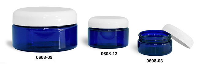 Plastic Jars, Blue PET Heavy Wall Jars w/ White Dome Caps