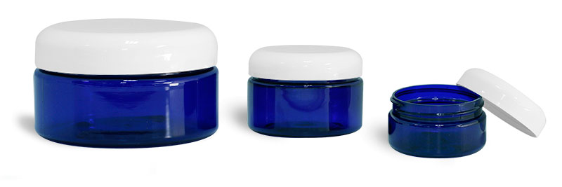 PET Plastic Jars, Blue Heavy Wall Jars w/ White Dome Caps