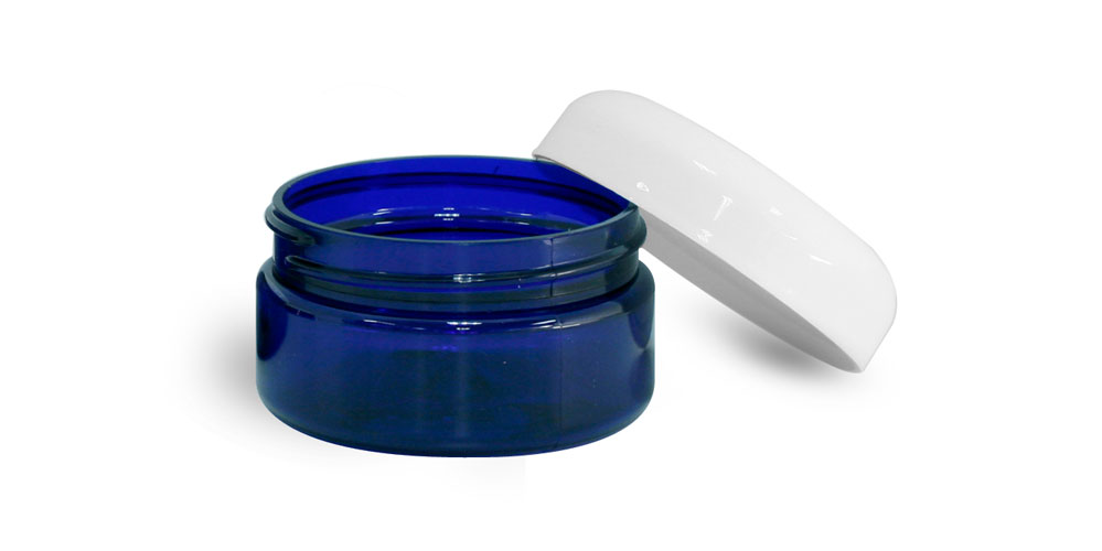 2 oz Blue PET Heavy Wall Jars w/ White Dome Caps
