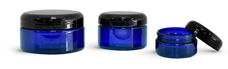 PET Plastic Jars, Blue Heavy Wall Jars w/ Black Dome Caps