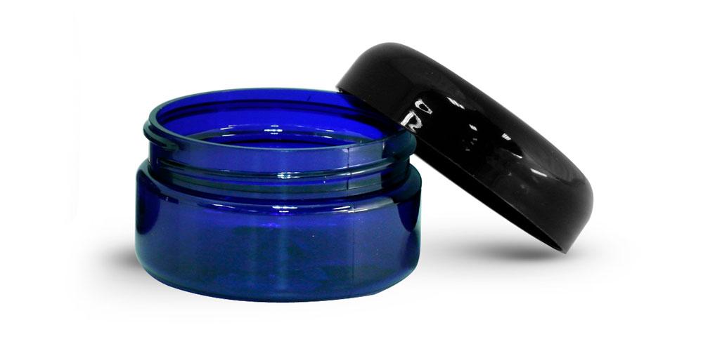 2 oz Blue PET Heavy Wall Jars w/ Black Dome Caps