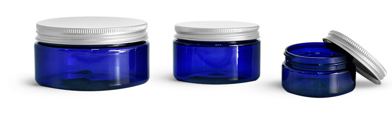 PET Plastic Jars, Blue Heavy Wall Jars w/ Aluminum Lined Caps
