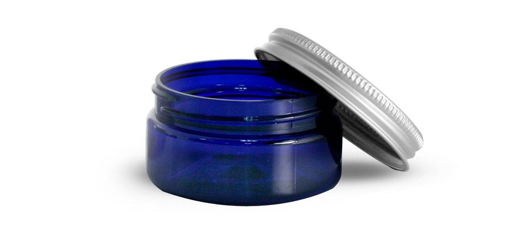 2 oz Blue PET Heavy Wall Jars w/ Aluminum Lined Caps