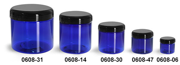 Plastic Jars, Blue PET Straight Sided Jars w/ Black Dome Lined Caps