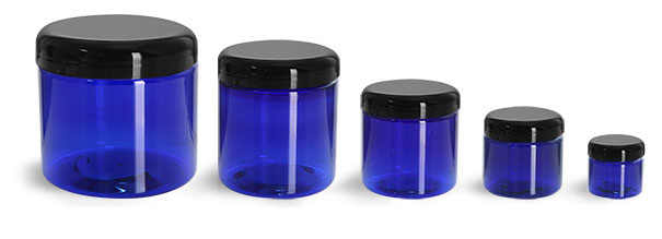 PET Plastic Jars, Blue Straight Sided Jars w/ Black Dome Lined Caps