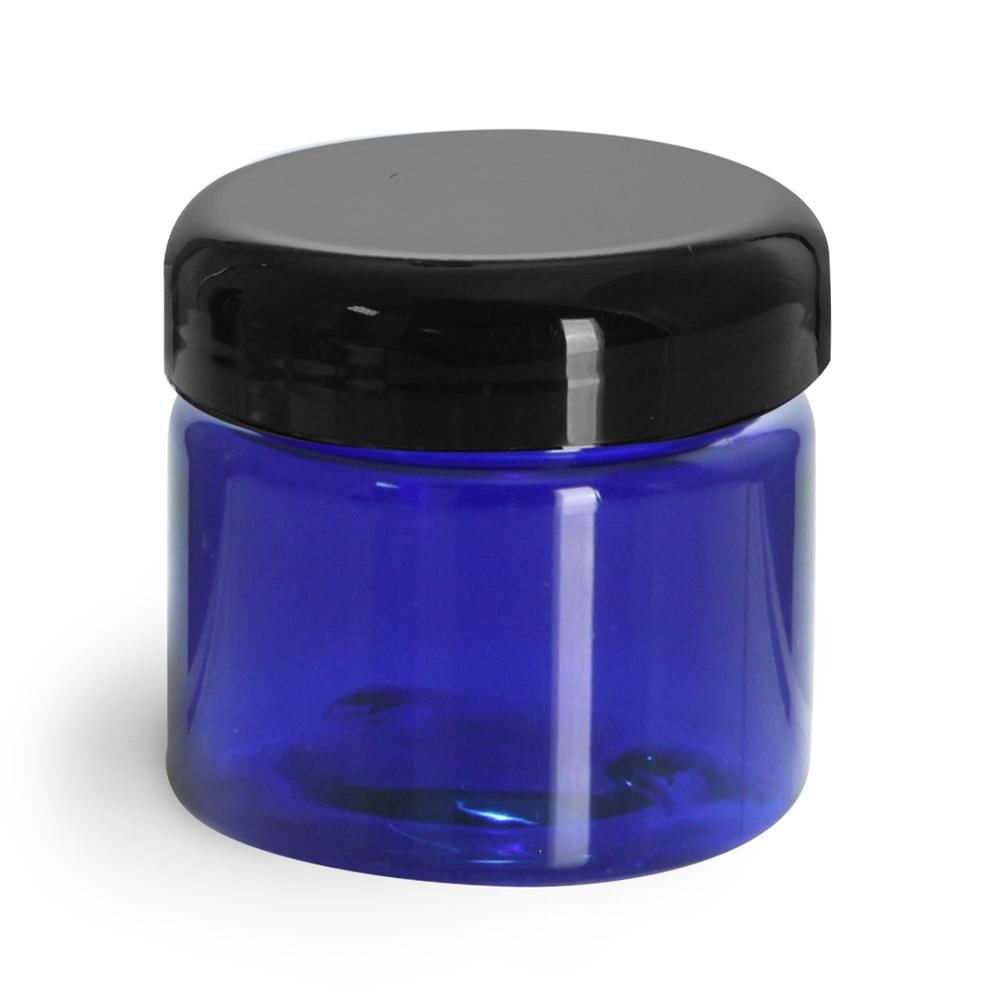 1/2 oz Plastic Jars, Blue PET Straight Sided Jars w/ Black Dome Lined Caps