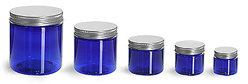 Plastic Jars, Blue PET Straight Sided Jars w/ Lined Aluminum Caps