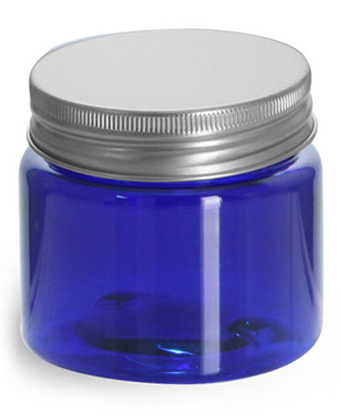 1/2 oz Blue PET Straight Sided Jars w/ Lined Aluminum Caps