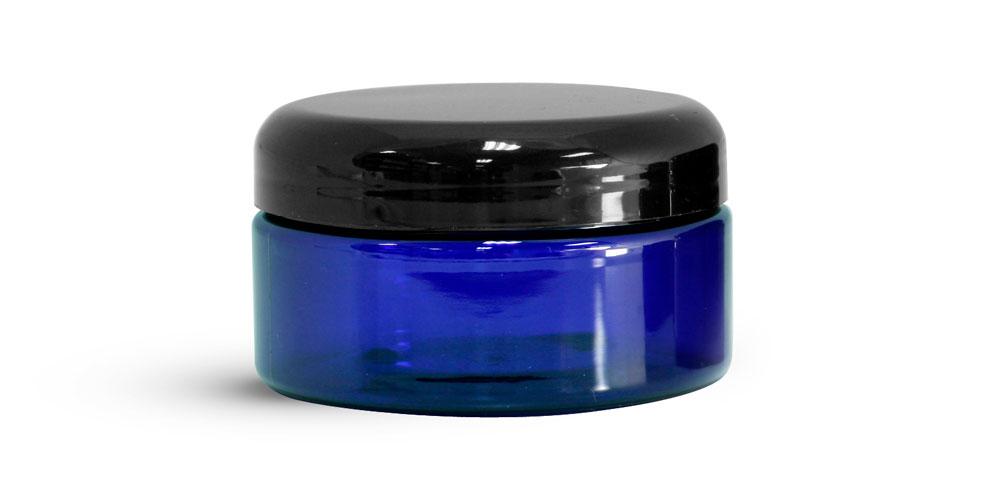 8 oz Blue PET Heavy Wall Jars w/ Black Dome Caps