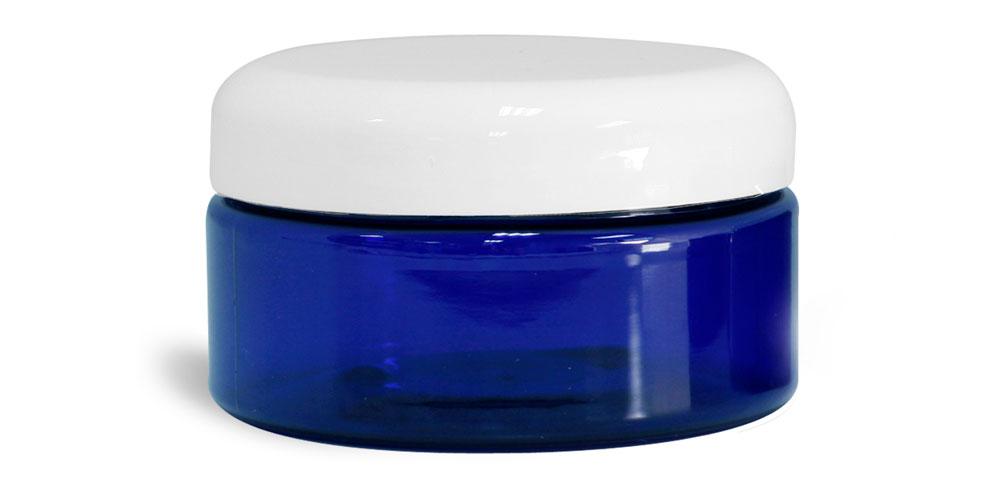 8 oz Blue PET Heavy Wall Jars w/ White Dome Caps