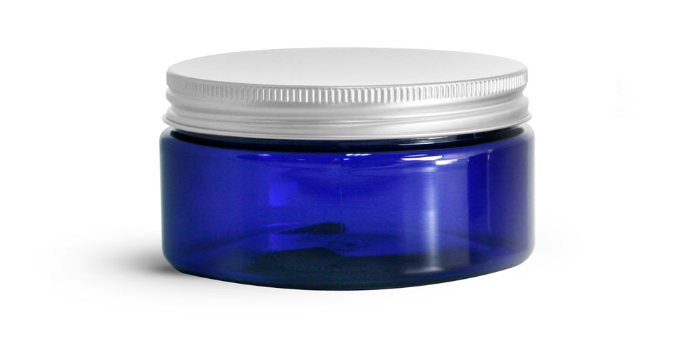 Blue PET Heavy Wall Jars w/ Aluminum Lined Caps