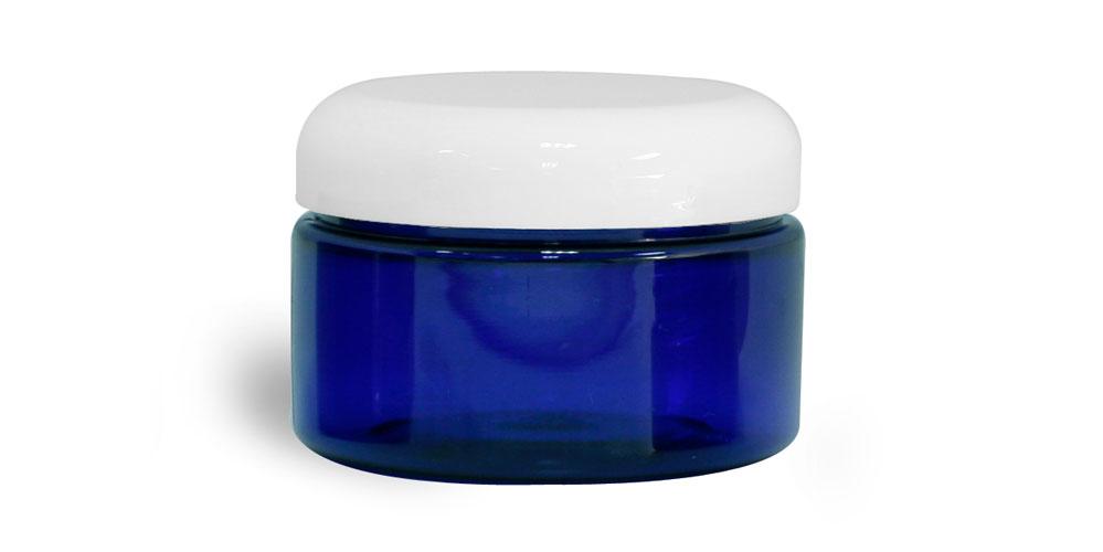 4 oz Blue PET Heavy Wall Jars w/ White Dome Caps