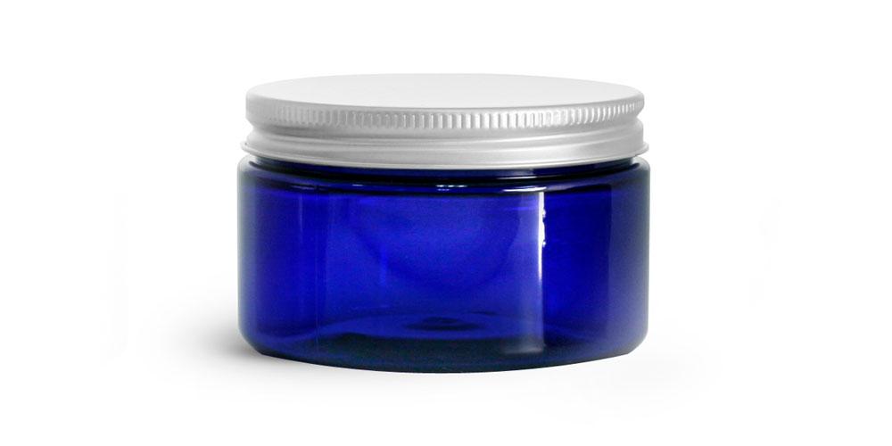 4 oz Blue PET Heavy Wall Jars w/ Aluminum Lined Caps