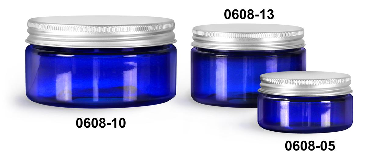 Plastic Jars, Blue PET Heavy Wall Jars w/ Aluminum Lined Caps