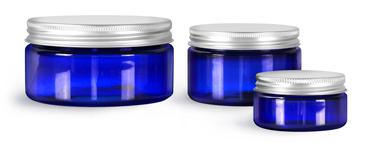 PET Plastic Jars, Blue Heavy Wall Jars w/ Aluminum Lined Caps