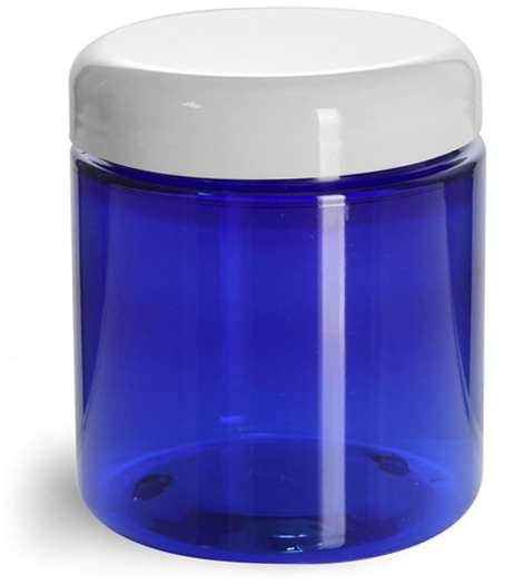 8 oz PET Plastic Jars, Blue Straight Sided Jars w/ White Dome Lined Caps