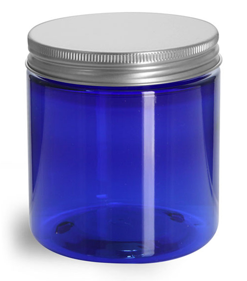 8 oz Blue PET Straight Sided Jars w/ Lined Aluminum Caps