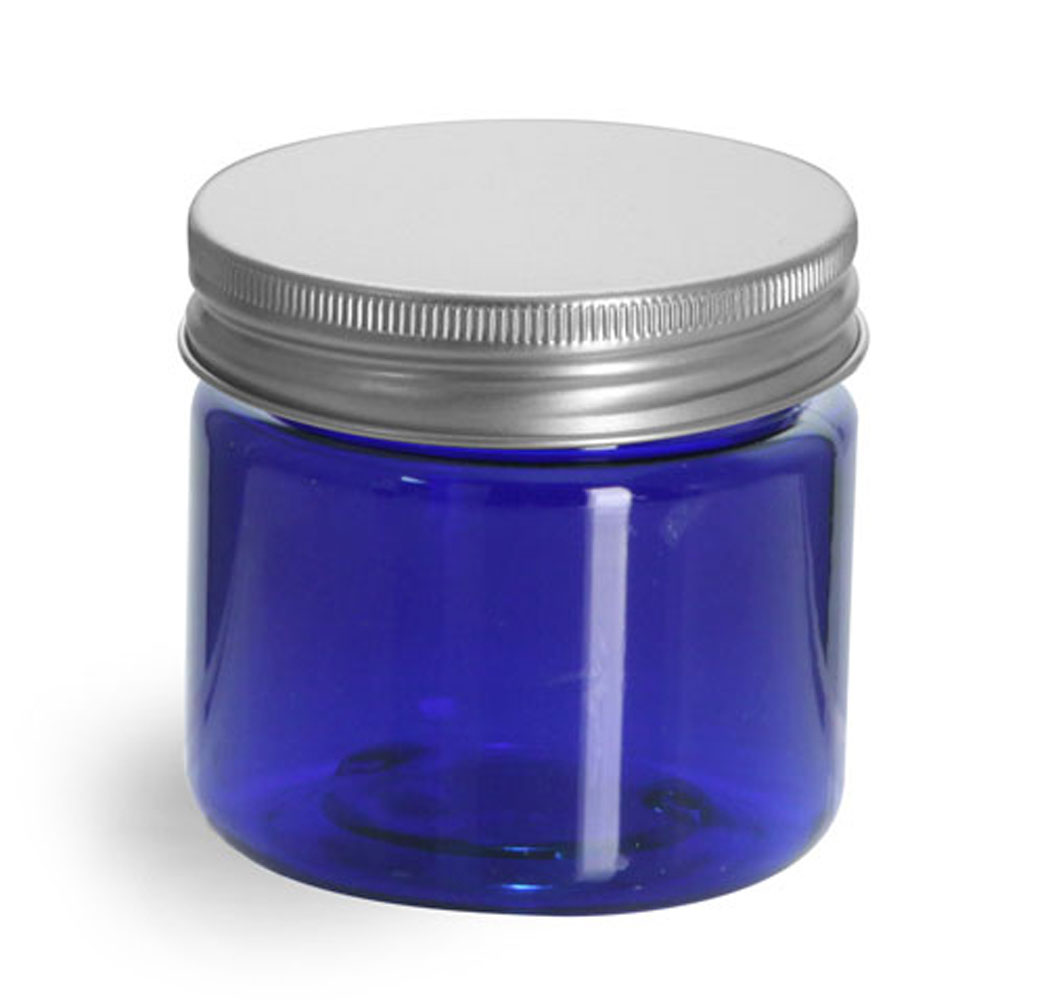 1 oz Blue PET Straight Sided Jars w/ Lined Aluminum Caps
