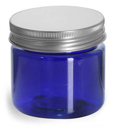 2 oz Blue PET Straight Sided Jars w/ Lined Aluminum Caps