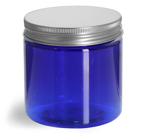Blue PET Straight Sided Jars w/ Lined Aluminum Caps
