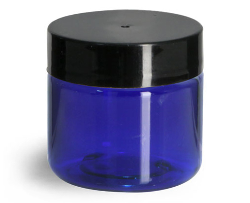 1 oz Blue PET Straight Sided Jars w/ Black Smooth Plastic Lined Caps