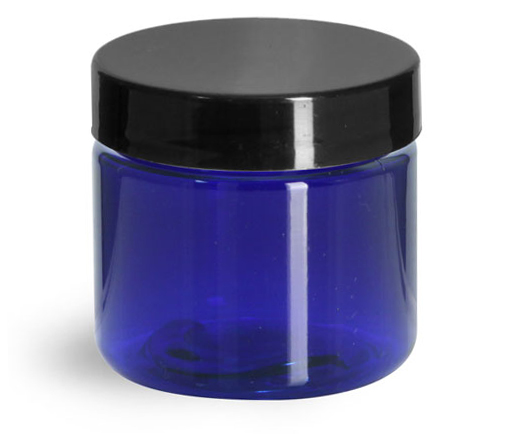 2 oz Blue PET Straight Sided Jars w/ Black Smooth Plastic Lined Caps
