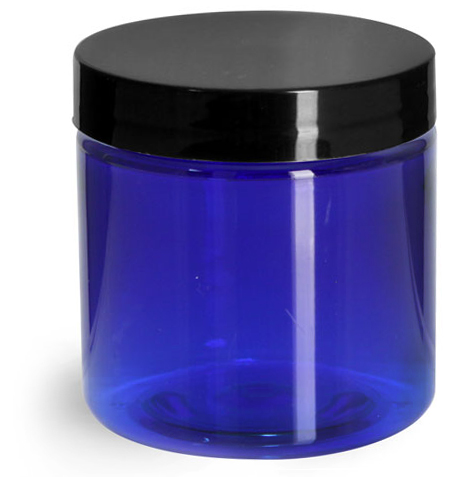 4 oz Blue PET Straight Sided Jars w/ Black Smooth Plastic Lined Caps